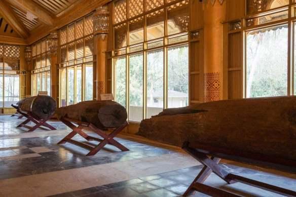 foundation posts on display at Kanbawzathadi Palace