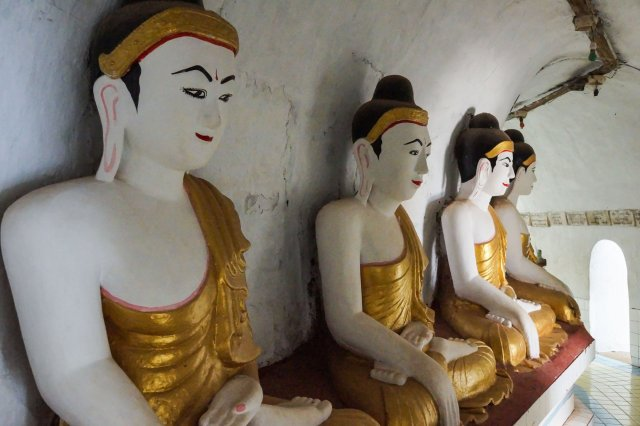 four of the seated Buddhas at Shwegugale Pagoda