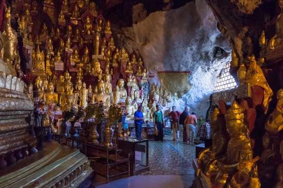 looking back at the Pindaya Cave entrance