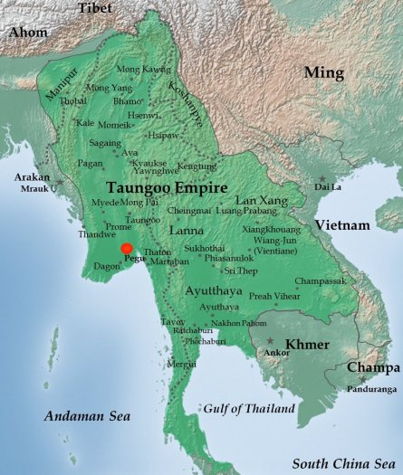 map of Bayinnaung's Taungoo Empire in 1580