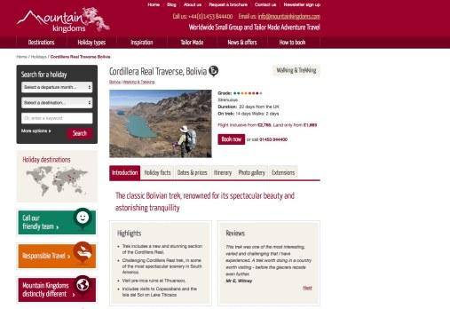 Mountain Kingdoms Bolivia home page