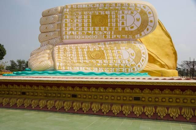 Mya Tha Lyaung Reclining Buddha - feet underside