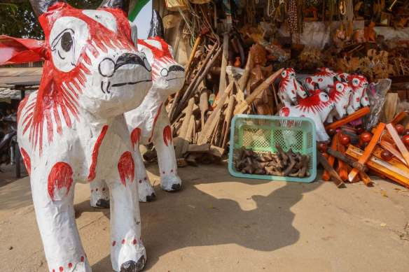 paper mache animal figures for sale outside of Hintha Gon Paya