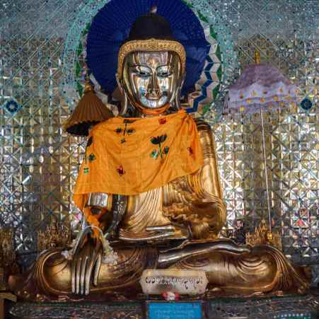 seated Buddha statue in one of Shwemawdaw Pagoda's shrines
