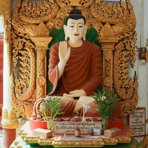 Shwegugale seated Buddha in the Have No Fear mudra
