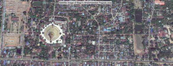 Satellite Photo - Bago's Shwemawdaw Pagoda and Hintha Gon