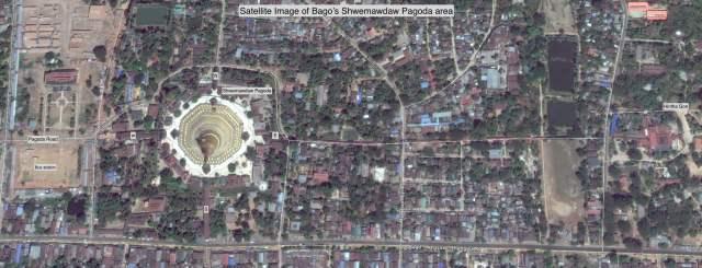 Satellite Photo - Bago's Shwemawdaw Pagoda and Hintha Gon