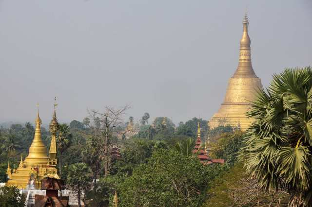 Shwemawdaw Pagoda (Zedi) from the terrace of the Hintha Gon