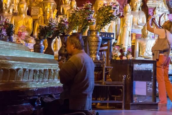 the Pindaya Buddhas - pilgrim and tourist