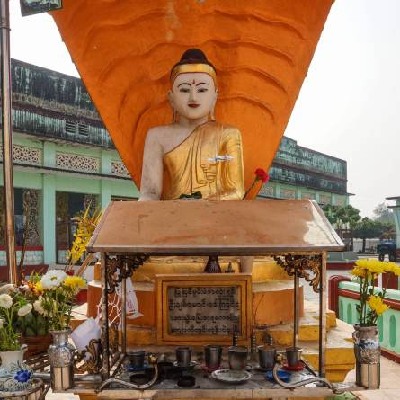 the seated Buddha covered by the cobra head