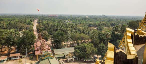 the Shwemawdaw Pagoda in the afternoon haze from the top of Mahazedi Paya