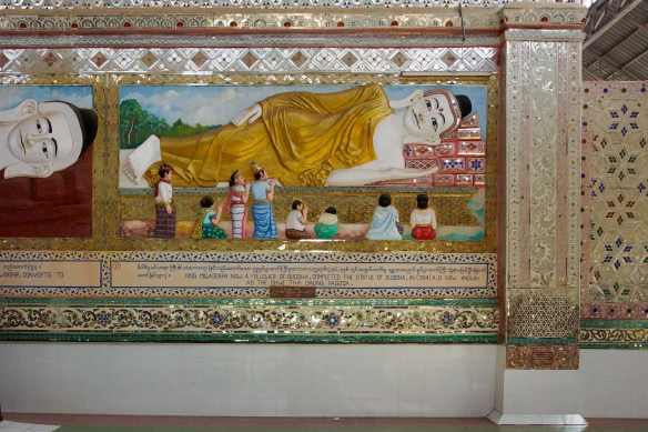 the tenth and last panel of the story of who had the original reclining Buddha built and why