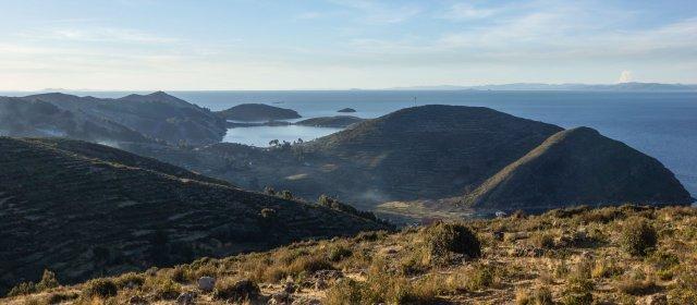 a view fromt he top of Isla del Sol's Palla Khasa