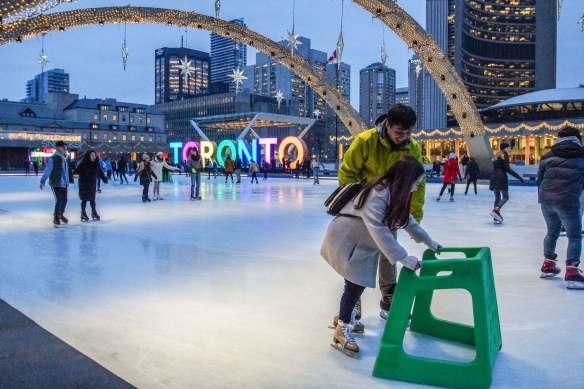 City Hall skating rink at dusk