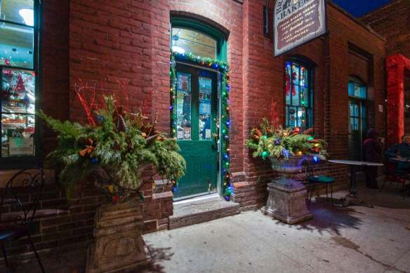 Distillery storefront with Xmas decorations