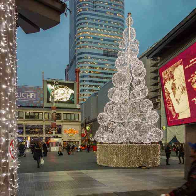 Dundas Square Xmas Tree - December 2015 after dusk