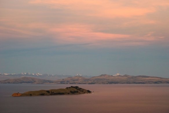 Isla de la Luna and the Cordillera Real from Isla del Sol's high point Cerro Palla Khasa