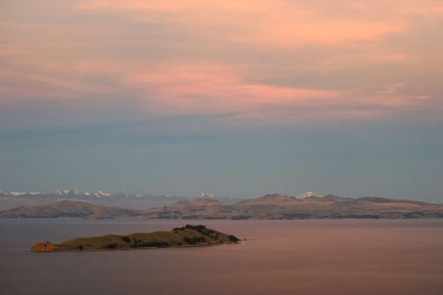Isla de la Luna and the Cordillera Real from Isla del Sol's high point Cerro Palla Khasa