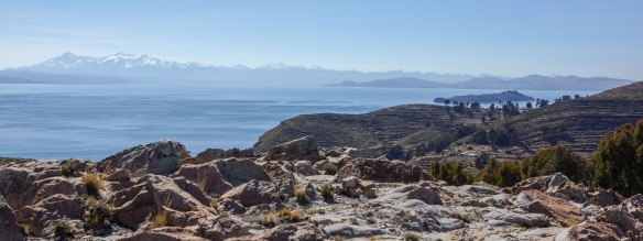 looking east from above Challa on Isla del Sol to the Cordillera Real