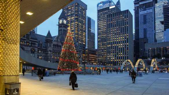 December 2015 - looking south over Toronto City Hall Square