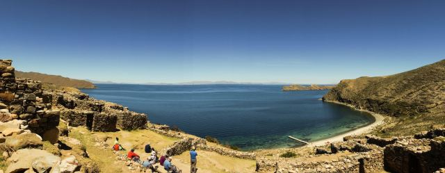 north end of Isla del Sol Lake titicaca chincana ruins and beach