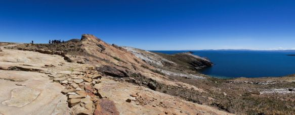 panorama of Titi Khar'ka - the Rock of the Puma - on Isla del Sol