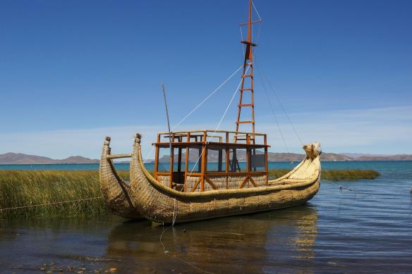 reed boat built by Thor Hyderdal's raft maker