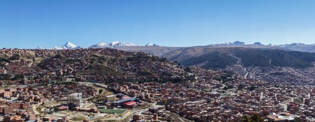 panorama - The Cordillera Real and the city of La Paz