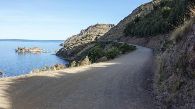 the gravel road to Yampupata