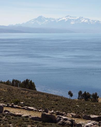 The Illampu Massif from isla del Sol's pilgrims' trail
