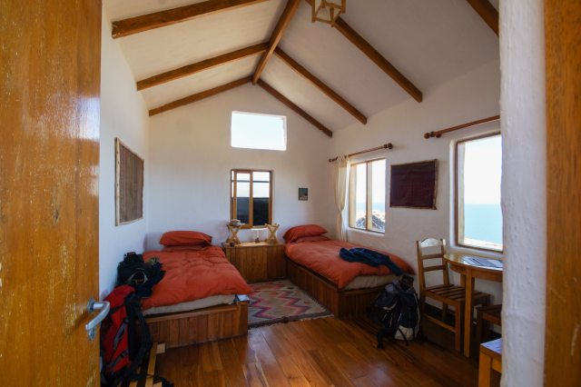 the inside of a Ecolodge La Estancia hut on Isla del Sol