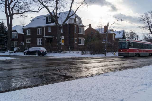Broadview Avenue and the slush and salt