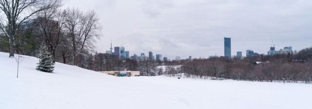 panorama of downtown Toronto from the slopes by Broadview