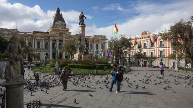 Plaza Murillo with Asamblea Legislativa Plurinacional and Palacio Quemado (the Presidential Palace)