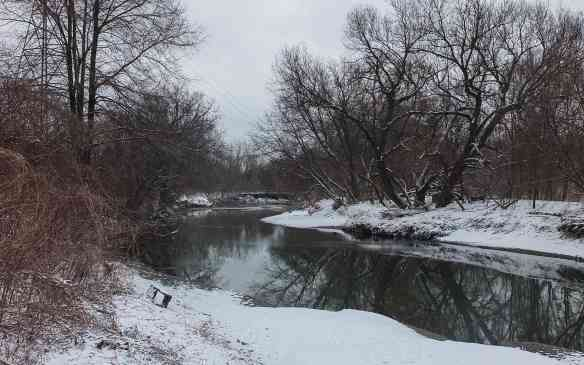 a bend in the Don River north of the Riverdale Footbridge