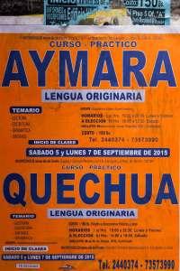 Indigenous Langauge Courses Poster in La Paz