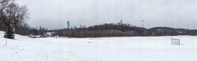 the Lower Don Valley and downtown Toronto from Broadview Avenue