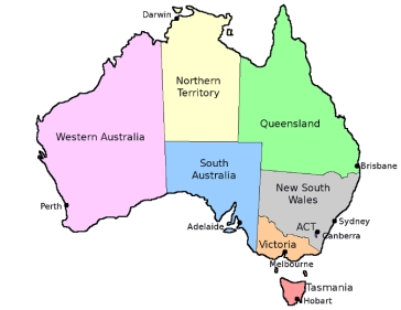Australia-States - Capitals- Coloured