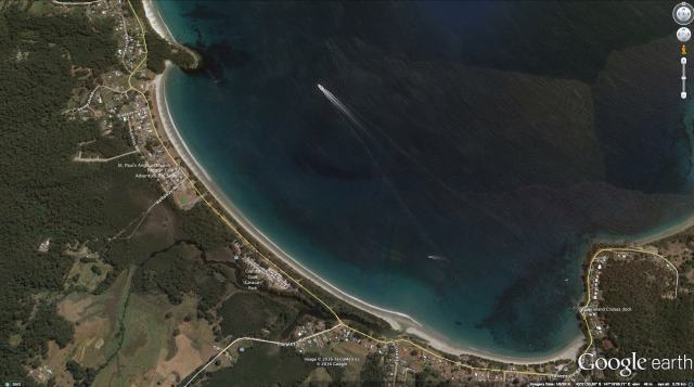 Bruny Island's Adventure Bay - Google satellite view