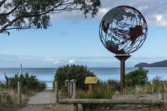 Adventure Bay Sculpture - Globe with Whiales inside