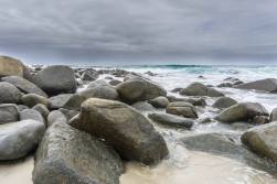 beach boulders on a cloudy afternoon on east coast Tas