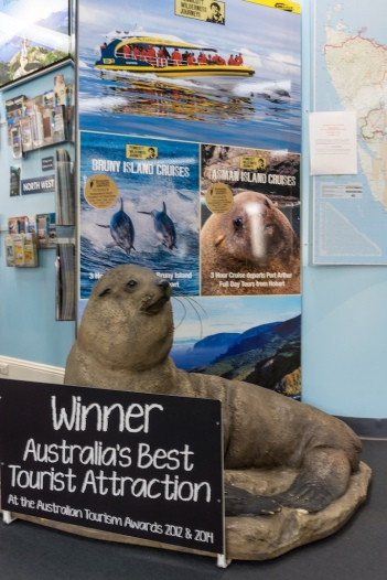 Bruny Island Cruises display at Hobart's Tourist Info Center