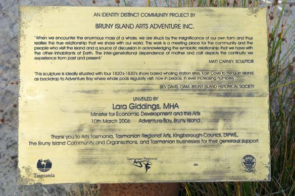 Bruny Island sculpture plaque