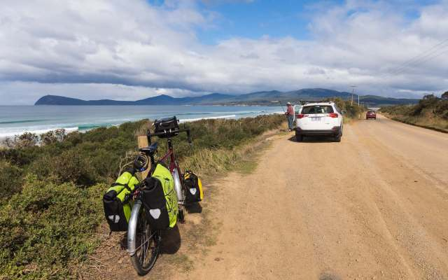 leaving my bike for a walk to the beach at Bruny Island's The Neck