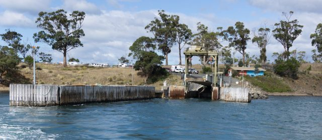leaving the Bruny Island dock at Roberts Point