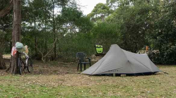 my tent in the tenting area of the Cook Caravan Park