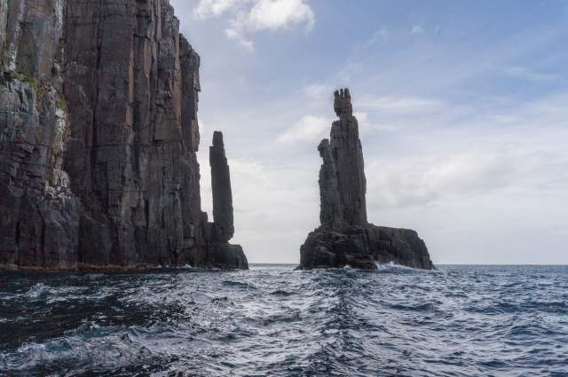 pillars of sandstone on Bruny Island - testament to the power of the waves