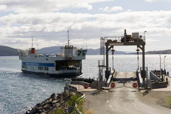 the double-decker Mirambeena coming in to Point Roberts on Bruny Island