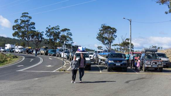 the front of the lineup for the Bruny Island ferry to Kettering