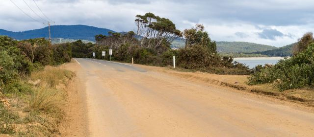 the south end of the 2.5 kilometer gravel road across Bruny Island's The Neck